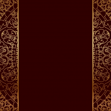 Vector red   gold frame with oriental ornament Vector