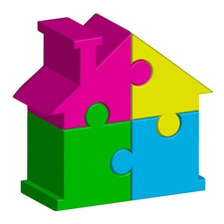 toy house: Vector illustration of house from puzzles