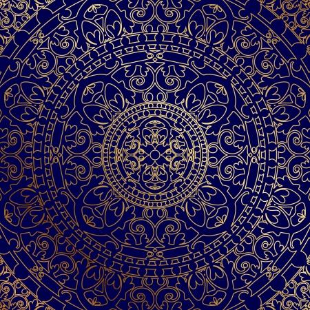 marokko: Vector oosterse blauwe achtergrond met gouden sieraad