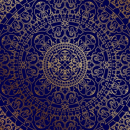 vitrage: Vector oriental blue background with gold ornament