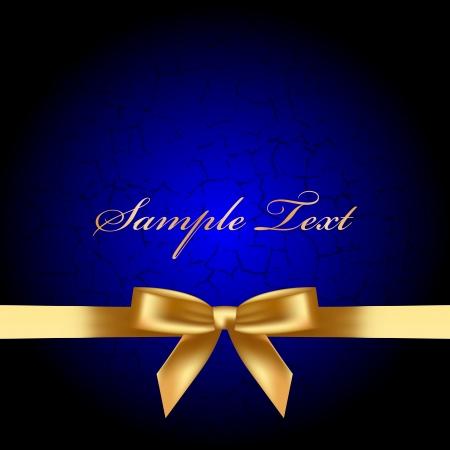 fiocco oro: Vector sfondo blu con fiocco oro