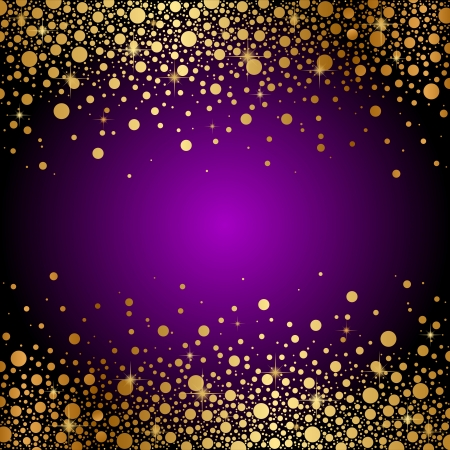 purple stars: Vector purple and gold luxury background