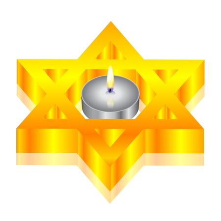 Vector illustration of candle   star of David Vector