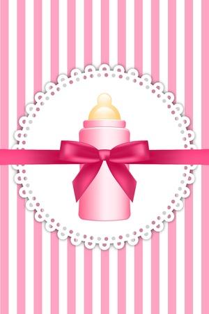 fuchsia: Vector fondo de color rosa con el arco y la botella de beb� Vectores