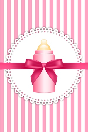 Vector pink background with bow and baby bottle Vector