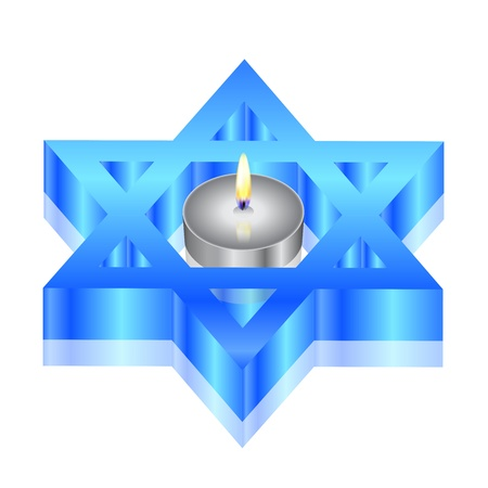 Vector illustration of star of David with candle Vector