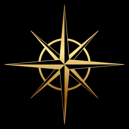 Vector gold compass rose icon Vector