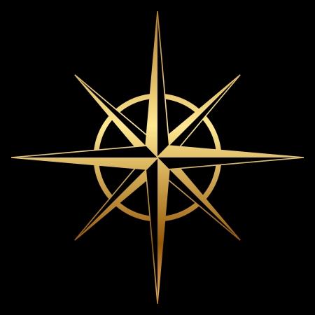 rosa dei venti: Vector oro rosa dei venti icona