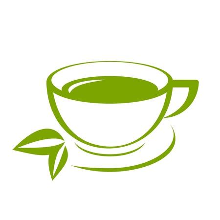 taza de t�: Icono del vector de la taza de t� verde
