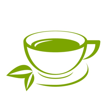 steam of a leaf: Vector icon of green tea cup Illustration