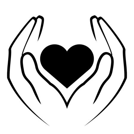 hands holding heart: Vector icon - hands holding heart Illustration