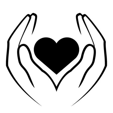solidaridad: Vector icono - manos celebración corazón