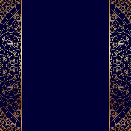 Vector gold frontière fleurie Vecteurs