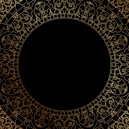 Vector oriental ornament on black background
