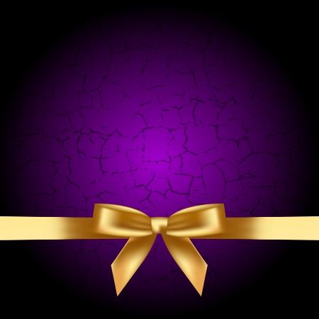 ruban or: Vecteur de fond violet avec un arc d'or