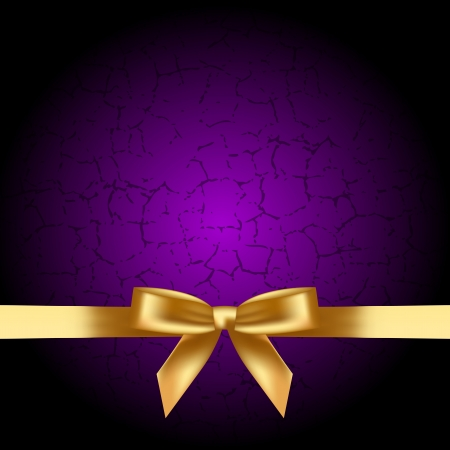 Vector purple background with gold bow Stock Vector - 19059616