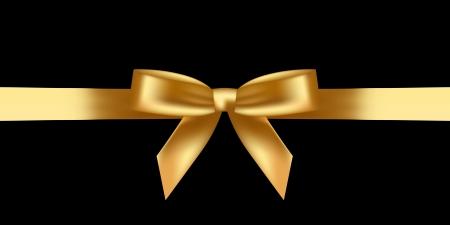 gold ribbon: illustration of shiny gold bow
