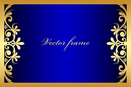 blue floral frame Vector