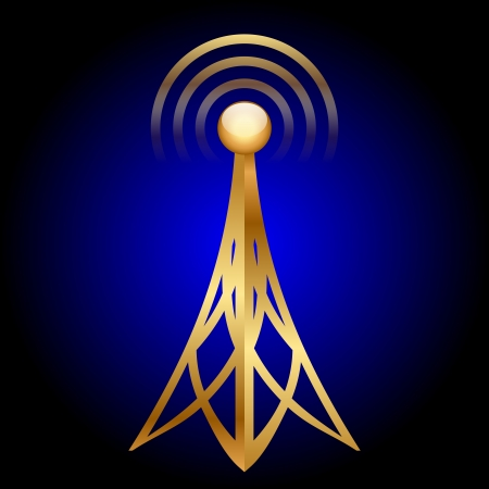 gold antenna icon on blue background Stock Vector - 19740383