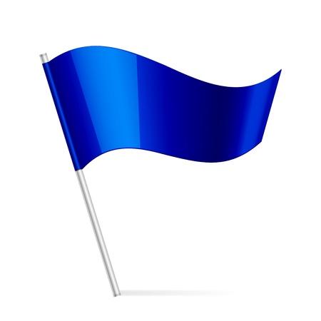 flag pin: illustration of blue flag Illustration