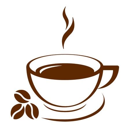 chicchi di caff�: Icona vettoriale di tazza di caff� Vettoriali