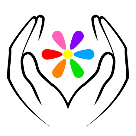 protect icon: illustration of hands and flower Illustration