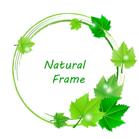 end of summer: frame with green leaves Illustration