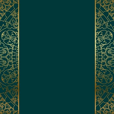 turquoise gold ornate border