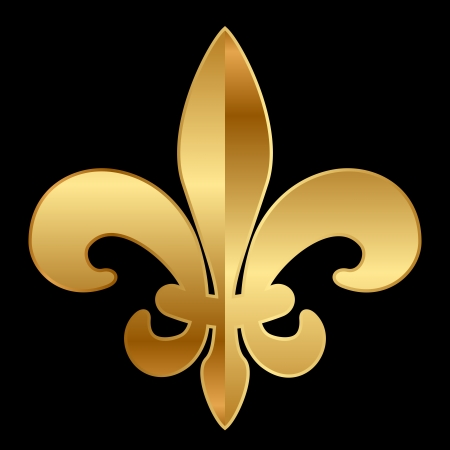 fleur de lis: gold ornament on black