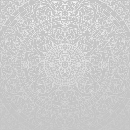 silver circle: sfondo grigio con decorazioni orientali Vettoriali
