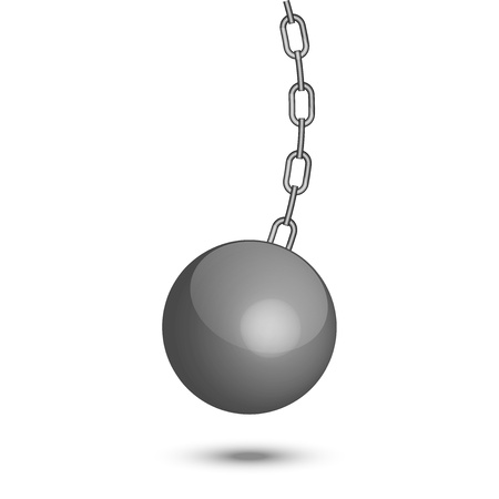 prison ball: illustration of wrecking ball