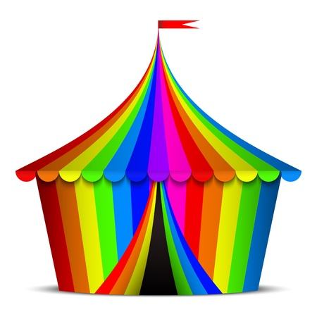 marquee tent: illustration of colorful circus tent
