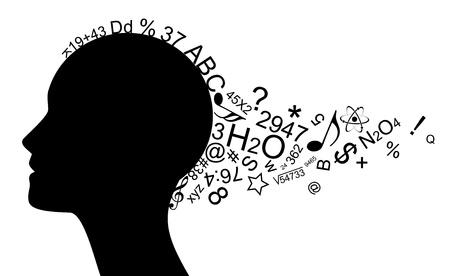 study icon: ilustraci�n de la cabeza con una gran cantidad de informaci�n