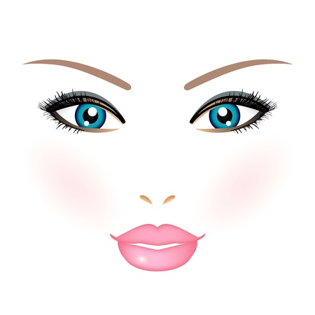 beauty make up: Illustrazione vettoriale del volto di donna Vettoriali