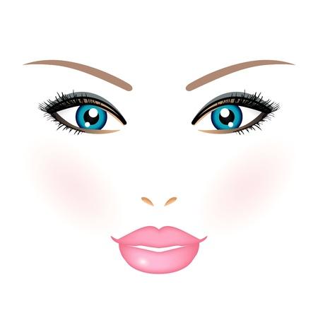 eyeshadow: Vector illustration of woman face