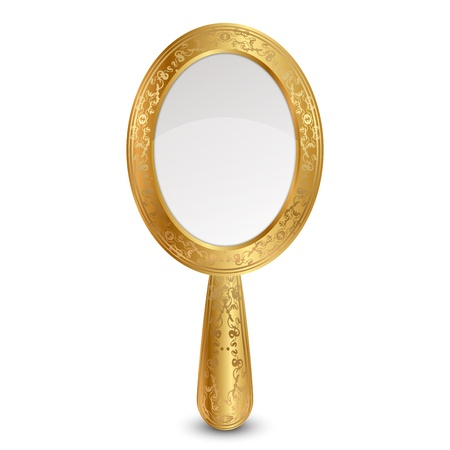 reflection in mirror: illustration of gold mirror