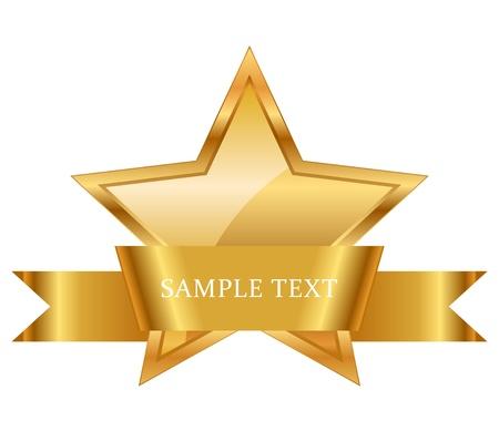 テキストのスペースを持つ光沢のあるリボンとゴールド スター賞のイラスト