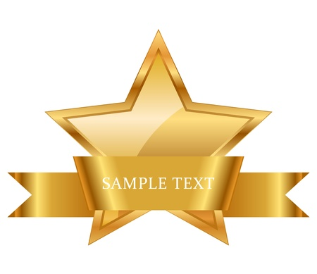 illustration of gold star award with shiny ribbon with space for your text Vector