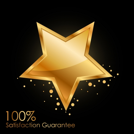 100  satisfaction guarantee background with gold star Stok Fotoğraf - 20008439