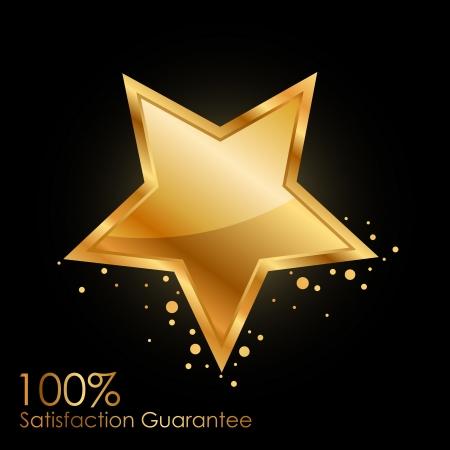 gouden ster: 100 tevredenheidsgarantie achtergrond met gouden ster Stock Illustratie