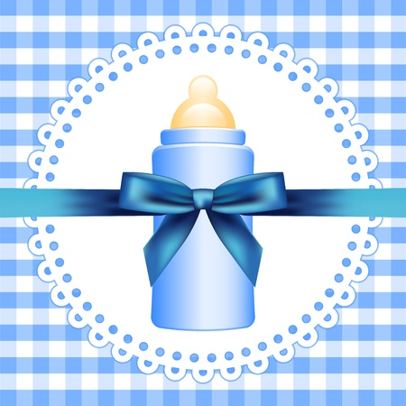 checkered background with baby bottle Vector
