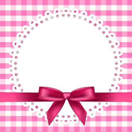 fuchsia: chequered background with napkin and ribbon