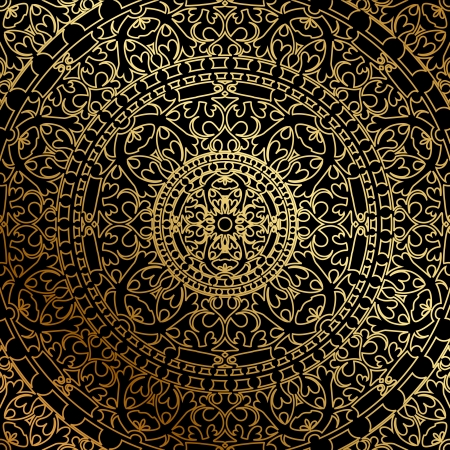 black background with gold oriental ornament