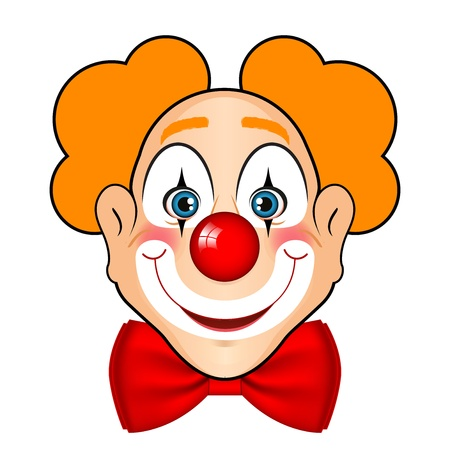 illustration of smiling clown with red bow Illustration