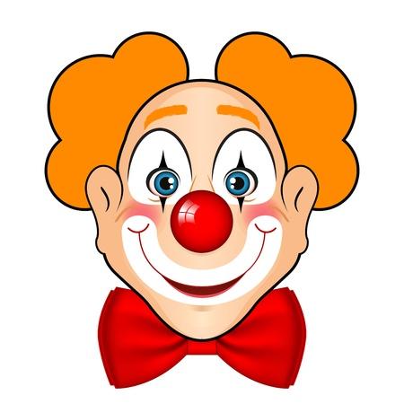 clowngesicht: Illustration von l�chelnden Clown mit roter Schleife