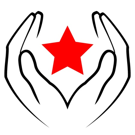 helping hand: icon - hands holding red star
