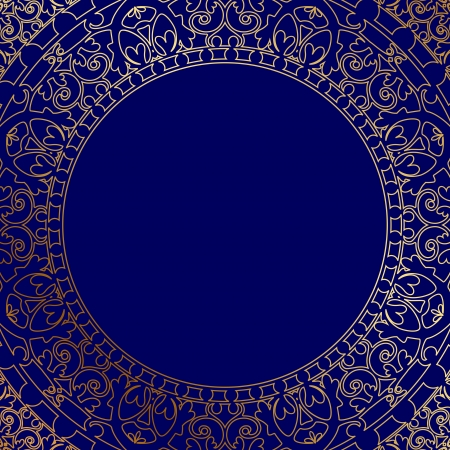 oriental blue frame with gold ornament