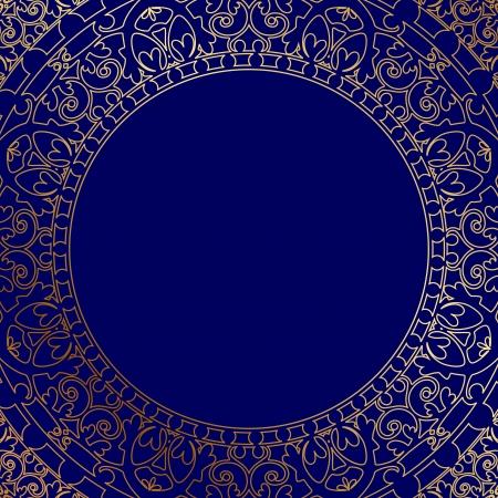 Orientalische blauer Rahmen mit goldenen Ornament Standard-Bild - 20008470