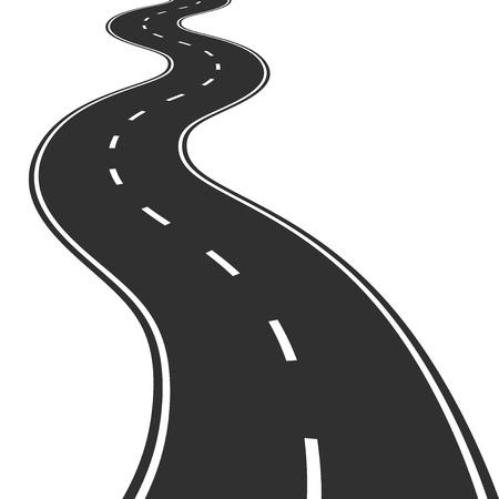 krökt: Illustration av slingrande väg