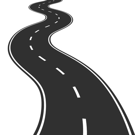 road travel: Illustration of winding road
